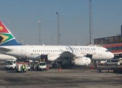 SAA aeroplane parked at the terminal