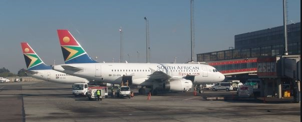 SAA aeroplane parked at the terminal