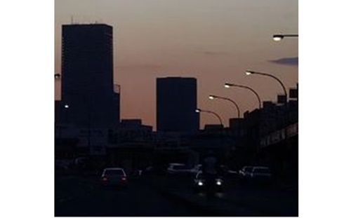Picture of Johannesburg in South Africa with all the lights off as a result of the electricity provider Eskom not able to provide lights to the country