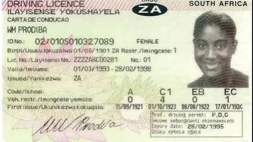 Image of a fraudulent SA driving license which was bought