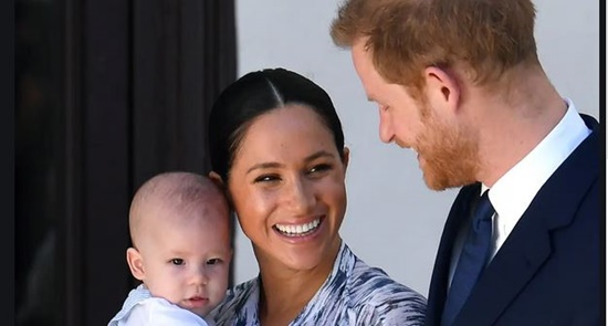 Image of Archie, Megan and Harry as they step down as senior members of the royal family